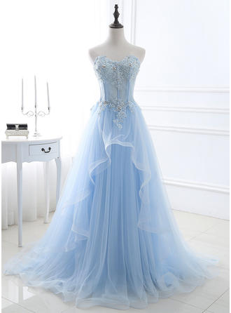 A-Line/Princess Sweetheart Sweep Train Prom Dresses With Beading Appliques Lace Sequins