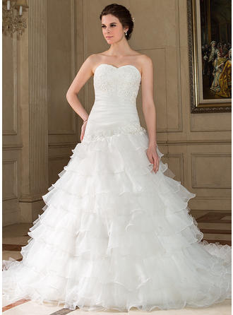 A-Line/Princess Sweetheart Chapel Train Wedding Dresses With Lace Beading Sequins Cascading Ruffles