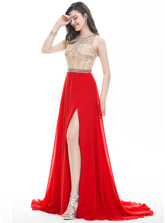 A-Line/Princess Scoop Neck Sweep Train Prom Dresses With Beading Sequins Split Front