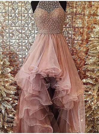 Ball-Gown Organza Prom Dresses Beading Halter Sleeveless Asymmetrical