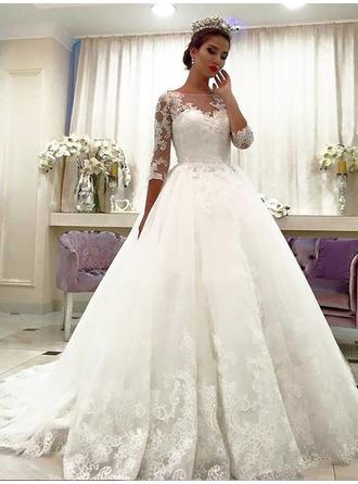 Beautiful Off-The-Shoulder Ball-Gown Wedding Dresses Court Train Tulle 3/4 Length Sleeves