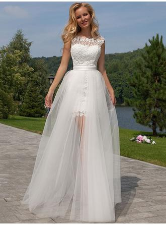A-Line/Princess Tulle Lace Sleeveless Scoop Floor-Length Wedding Dresses