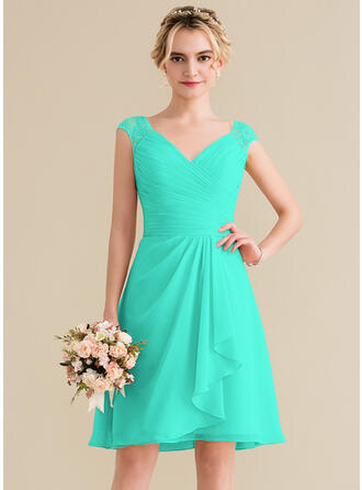 A-Line V-neck Knee-Length Chiffon Lace Bridesmaid Dress With Cascading Ruffles