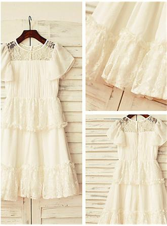 A-Line/Princess Scoop Neck Ankle-length With Lace Chiffon Flower Girl Dresses