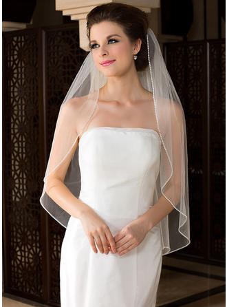Fingertip Bridal Veils Tulle One-tier Angel cut/Waterfall With Beaded Edge Wedding Veils
