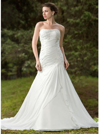 Trumpet/Mermaid Sweetheart Chapel Train Wedding Dresses With Ruffle Beading Appliques Lace