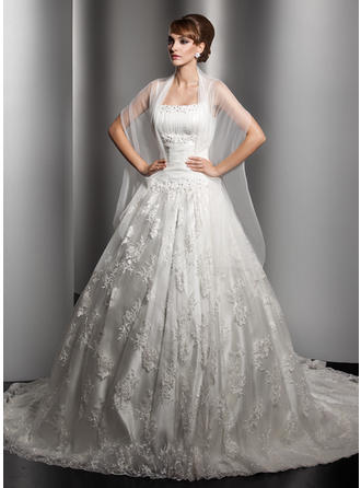 Ball-Gown Square Chapel Train Wedding Dresses With Ruffle Beading
