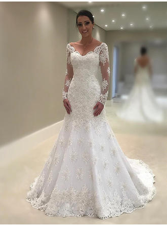 Trumpet/Mermaid Lace Long Sleeves V-neck Chapel Train Wedding Dresses