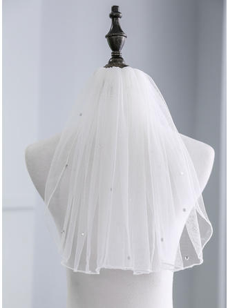 Shoulder Veils Tulle One-tier With Rhinestones 13.78 in (35cm) Wedding Veils