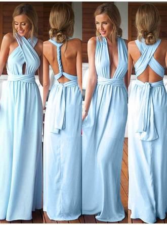 A-Line/Princess Jersey Bridesmaid Dresses Ruffle V-neck Sleeveless Floor-Length