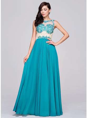 A-Line/Princess Chiffon Prom Dresses Beading Appliques Lace Sequins Scoop Neck Sleeveless Floor-Length