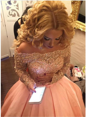 Ball-Gown Satin Prom Dresses Beading Sequins Bow(s) Off-the-Shoulder Long Sleeves Sweep Train