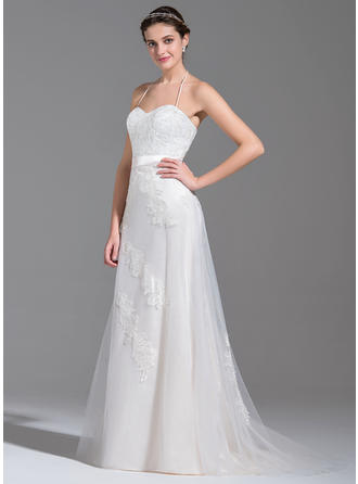 Halter A-Line/Princess Wedding Dresses Tulle Beading Appliques Lace Sequins Bow(s) Sleeveless Sweep Train