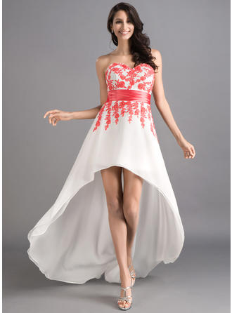 A-Line/Princess Sweetheart Asymmetrical Prom Dresses With Sash Appliques Lace