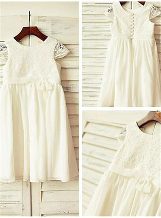A-Line/Princess Scoop Neck Tea-length With Lace/Pleated Chiffon Flower Girl Dresses