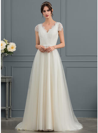 A-Line V-neck Sweep Train Tulle Wedding Dress With Bow(s)