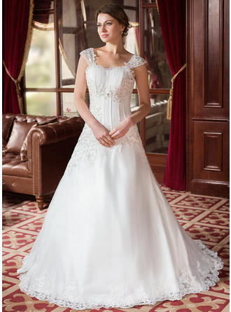 A-Line/Princess Square Court Train Wedding Dresses With Ruffle Beading Appliques
