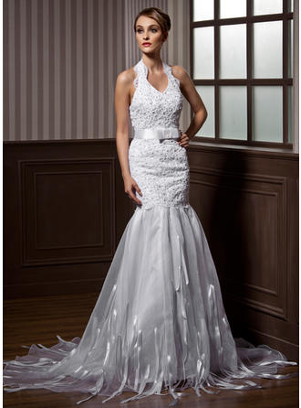 Luxurious Halter Trumpet/Mermaid Wedding Dresses Court Train Organza Sleeveless
