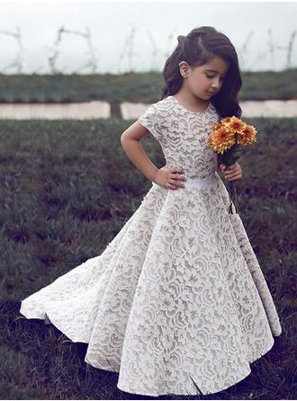 Princess Scoop Neck A-Line/Princess Flower Girl Dresses Sweep Train Lace Short Sleeves