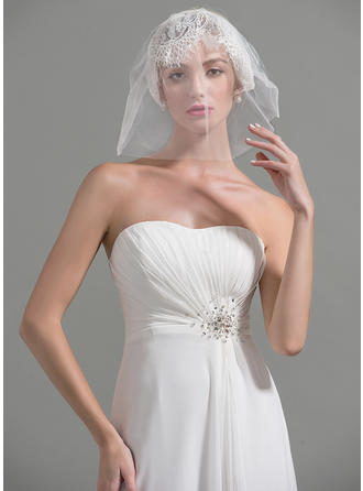 Blusher Veils Tulle Two-tier Classic With Cut Edge Wedding Veils