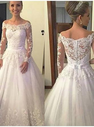 Beautiful Off-The-Shoulder Ball-Gown Wedding Dresses Court Train Tulle Long Sleeves