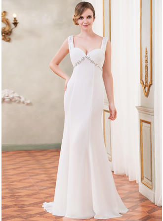 Trumpet/Mermaid Sweetheart Watteau Train Wedding Dresses With Ruffle Lace Beading Sequins