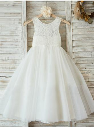 Glamorous Scoop Neck A-Line/Princess Flower Girl Dresses Ankle-length Chiffon/Lace Sleeveless