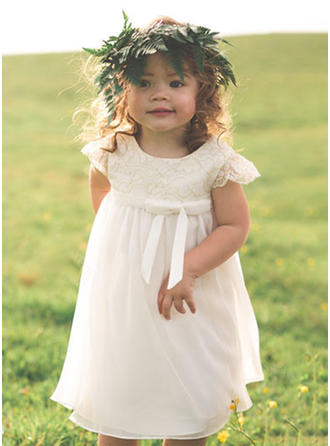 Empire Scoop Neck Tea-length Chiffon/Lace Sleeveless Flower Girl Dresses