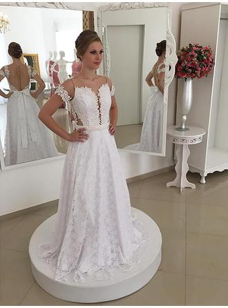 A-Line/Princess Lace Short Sleeves Scoop Sweep Train Wedding Dresses
