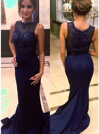 Trumpet/Mermaid Scoop Neck Court Train Prom Dresses With Beading