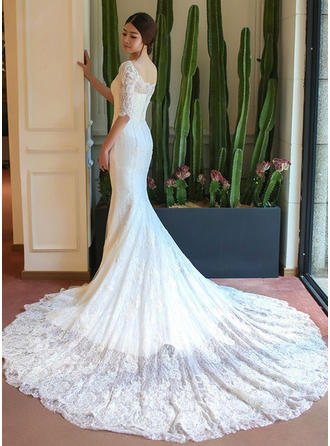 Trumpet/Mermaid Lace Half Sleeves Square Chapel Train Wedding Dresses