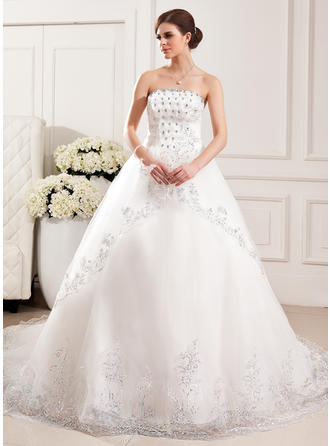 Strapless Ball-Gown Wedding Dresses Tulle Lace Beading Flower(s) Sequins Sleeveless Cathedral Train