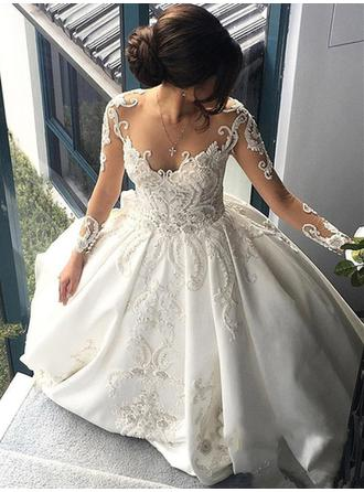 Ball-Gown Satin Long Sleeves Scoop Chapel Train Wedding Dresses