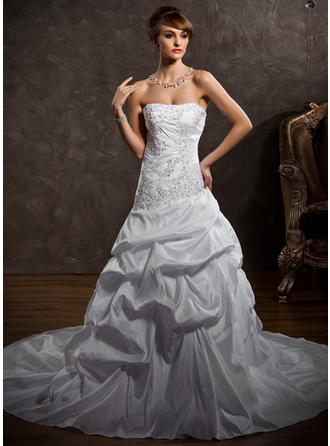 Stunning Strapless A-Line/Princess Wedding Dresses Cathedral Train Taffeta Sleeveless