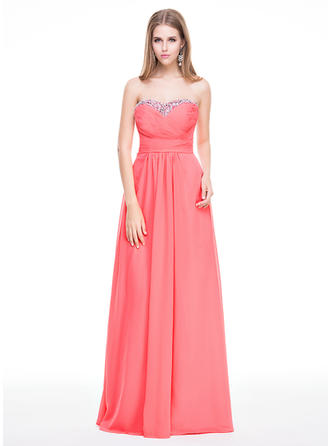 A-Line/Princess Sweetheart Floor-Length Prom Dresses With Ruffle Beading Sequins