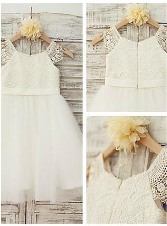 A-Line/Princess Scoop Neck Knee-length With Lace Tulle/Lace Flower Girl Dresses