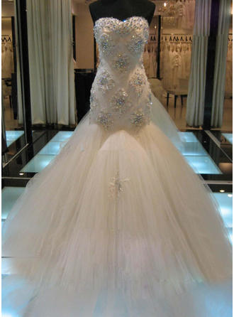 Trumpet/Mermaid Sweetheart Cathedral Train Wedding Dresses With Beading Appliques Lace Sequins