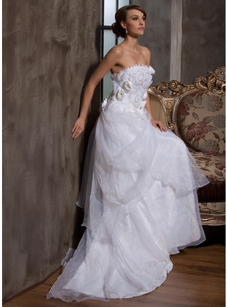 Simple Strapless A-Line/Princess Wedding Dresses Court Train Satin Organza Sleeveless