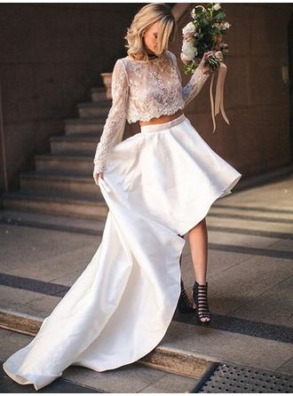 Scoop A-Line/Princess Wedding Dresses Satin Long Sleeves Asymmetrical