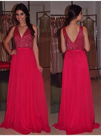 A-Line/Princess Chiffon Prom Dresses Sash Beading V-neck Sleeveless Sweep Train