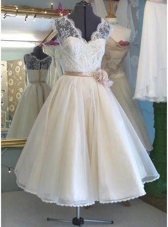 2018 New V-neck A-Line/Princess Wedding Dresses Tea-Length Organza Sleeveless