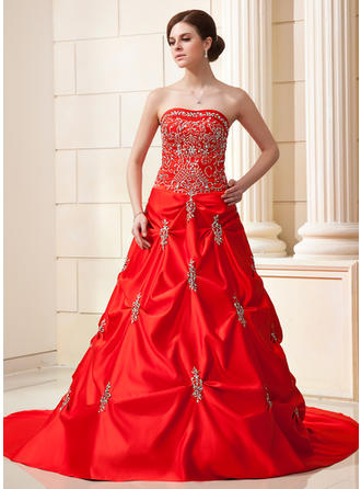 Ball-Gown Sweetheart Chapel Train Wedding Dresses With Ruffle Beading Sequins
