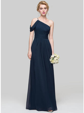 A-Line One-Shoulder Floor-Length Chiffon Prom Dresses With Ruffle