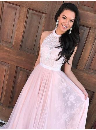 A-Line/Princess Tulle Prom Dresses Lace Beading Halter Sleeveless Sweep Train