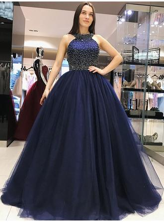 Ball-Gown Scoop Neck Sweep Train Prom Dresses With Beading Bow(s)