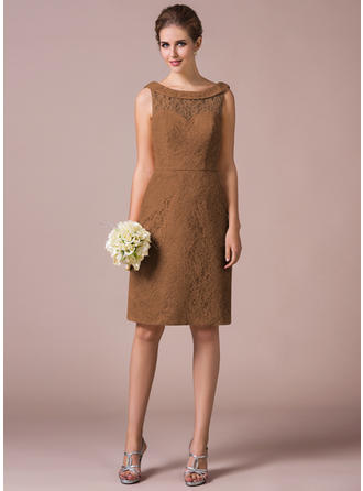 Sheath/Column Lace Bridesmaid Dresses Scoop Neck Sleeveless Knee-Length