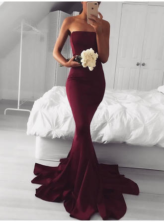 Trumpet/Mermaid Strapless Sweep Train Prom Dresses (018145952)