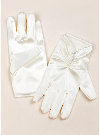 Elastic Satin Children's Gloves Wrist Length Flower Girl Gloves Fingertips Gloves