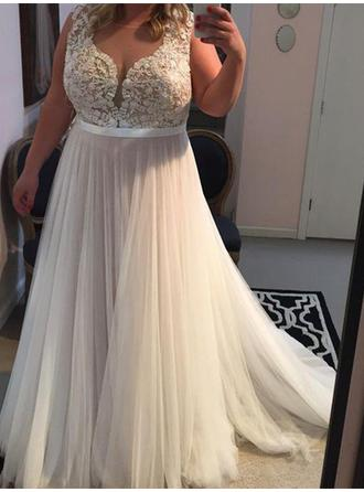 A-Line/Princess Scoop Neck Sweep Train Prom Dresses With Appliques Lace