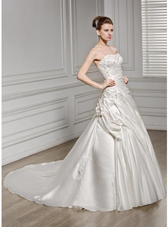 A-Line/Princess Sweetheart Cathedral Train Wedding Dresses With Ruffle Beading Flower(s) Sequins